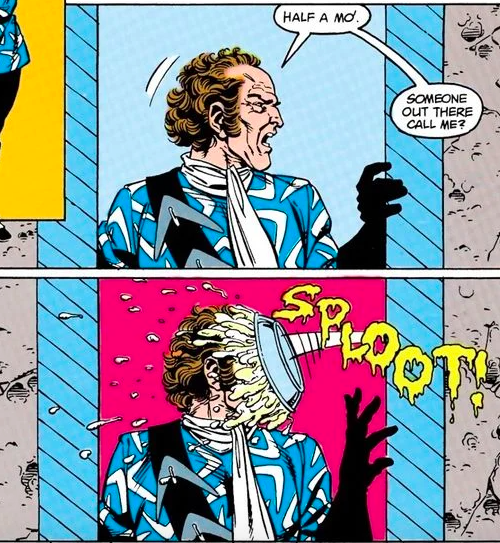 """Two panels from a Suicide Squad comic.  Panel 1: Digger says """"Half a mo! Someone out there call me?""""  Panel 2: Digger is hit in the face with a pie."""