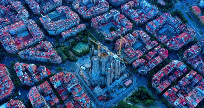 bird's eye view of catalonia barcelona spain