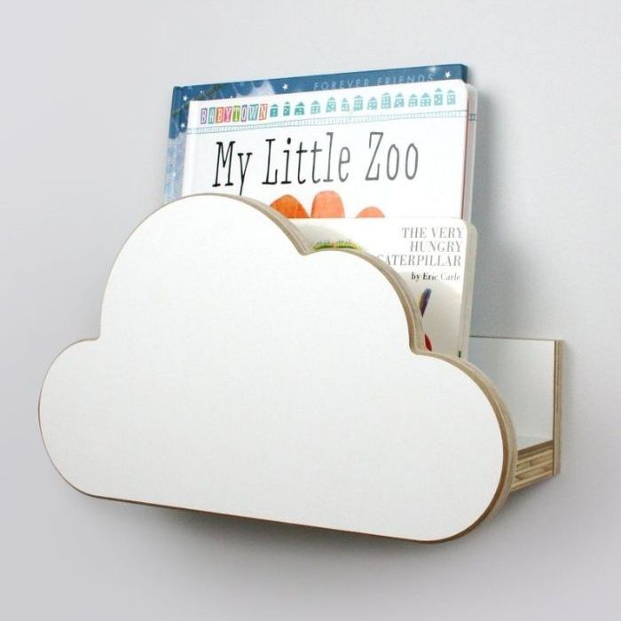 Wooden book rack with cloud-shaped front panel