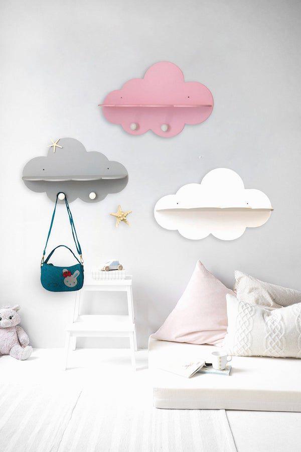 image of cloud-shaped wall bookshelves