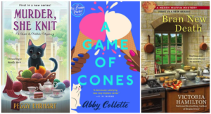 Collage of book covers for punny cozy mystery books