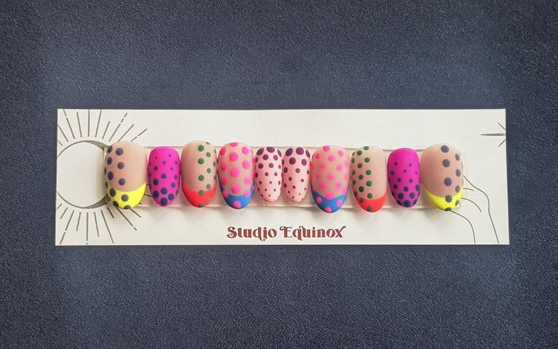 Image of pop comic art nails in bright colors