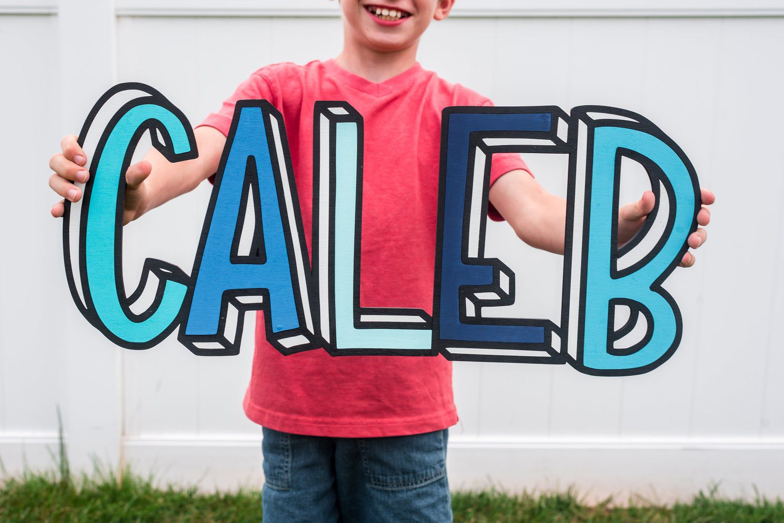 Image of customized comic book style sign with name CALEB.