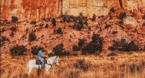 man on horse in from of mountain