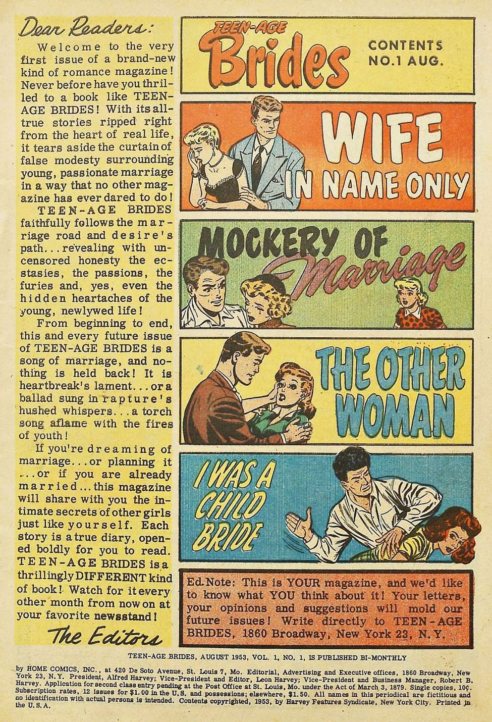 """Image of """"Dear Readers"""" page from inside Teen-Age Brides, saying it """"tears aside the curtain of false modesty surrounding young, passionate marriage."""" The image for """"I Was a Child Bride"""" shows a man about to spank a (clothed) young woman."""