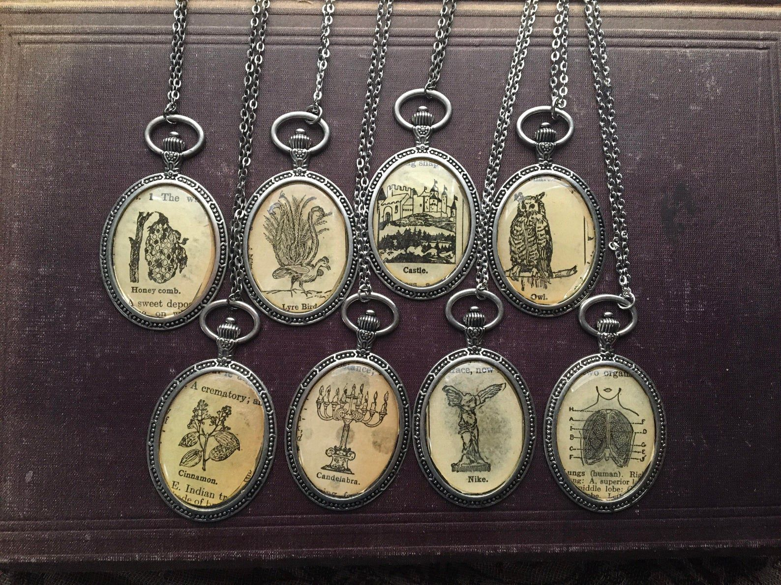 Image of eight different dictionary pages inside a necklace pendant.