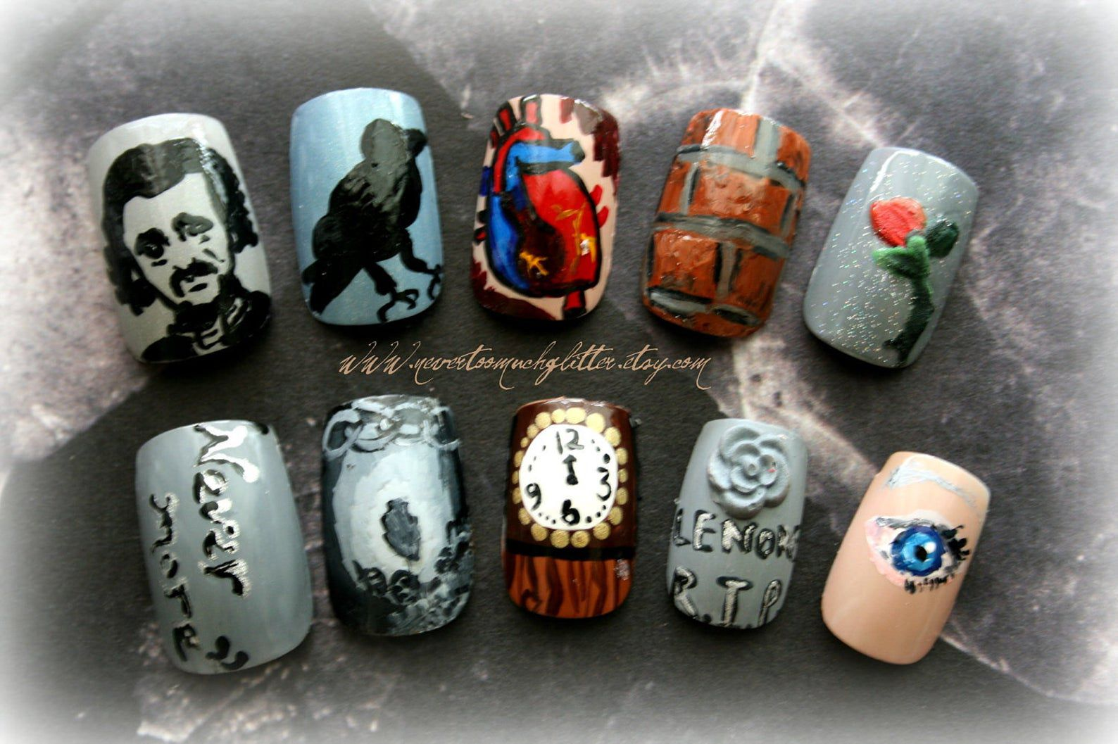 Image of nails featuring Poe, the Raven, the Tell-Tale heart, and other symbols of Poe's stories.
