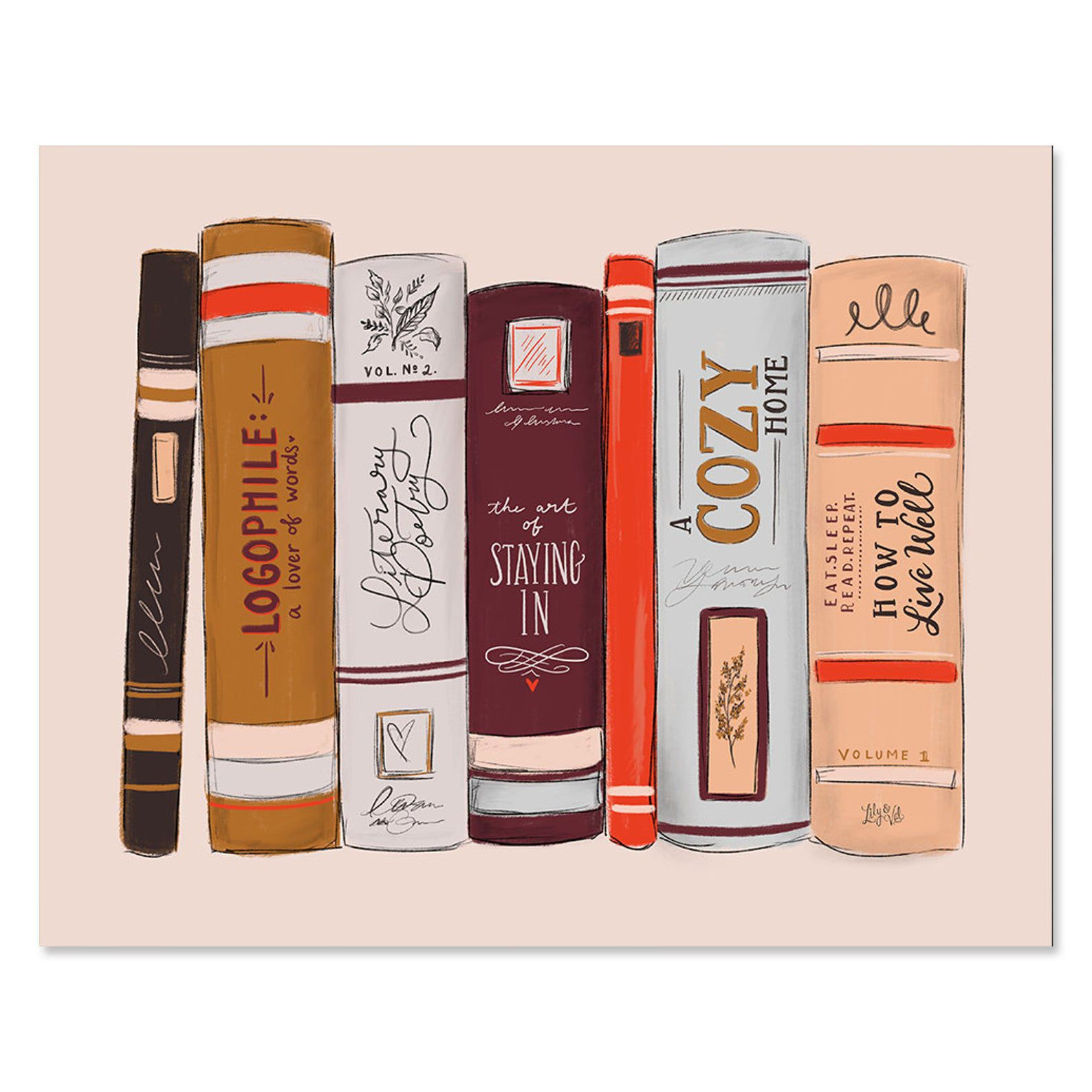 """Image of a shelf of fall-colored books with fall-themed titles like """"A Cozy Home."""""""