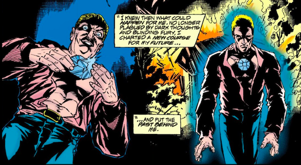 """A panel from a Flash comic. On the left, Malcolm Thawne places a blue gemstone on his chest. On the right, he walks forward, glowing blue, with a house on fire behind him. Down the center of the panel, narration boxes say: """"I knew then what could happen for me. No longer plagued by dark thoughts and blinding fury, I charted a new course for my future...and put the past behind me."""""""