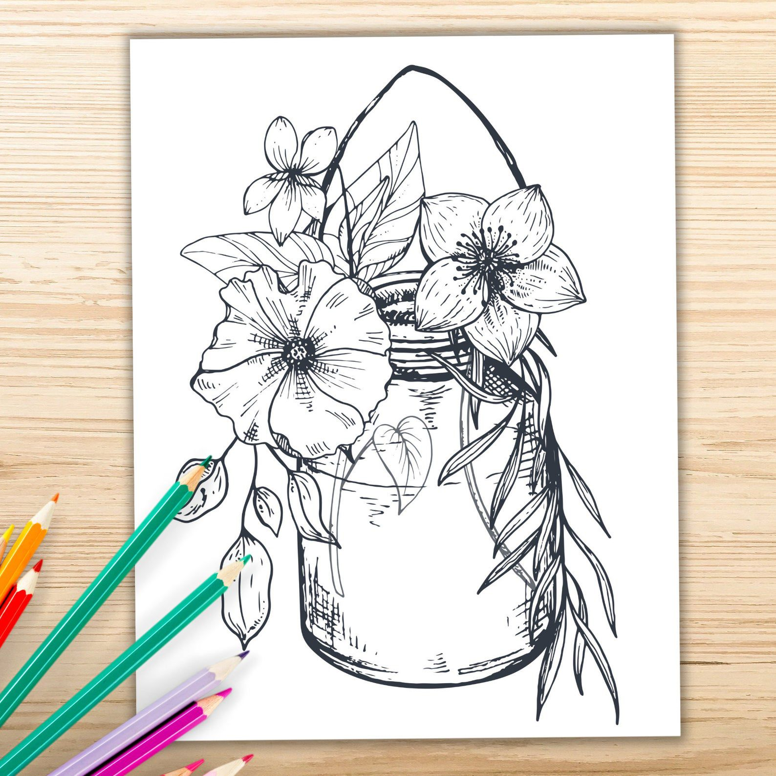 coloring book design of a jar of flowers