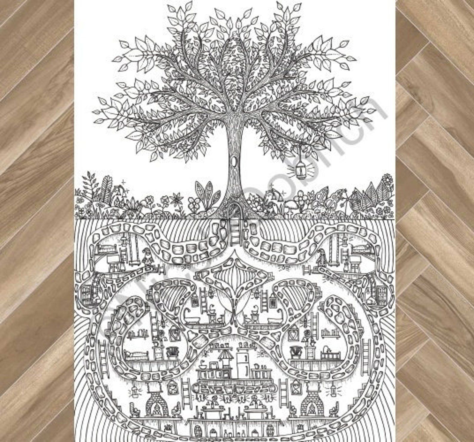 coloring book design of a tree with an underground gnome house beneath it