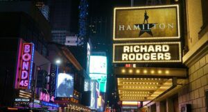 Photo of a Hamilton sign on Broadway