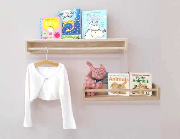 image of wall bookshelves with hanging rod