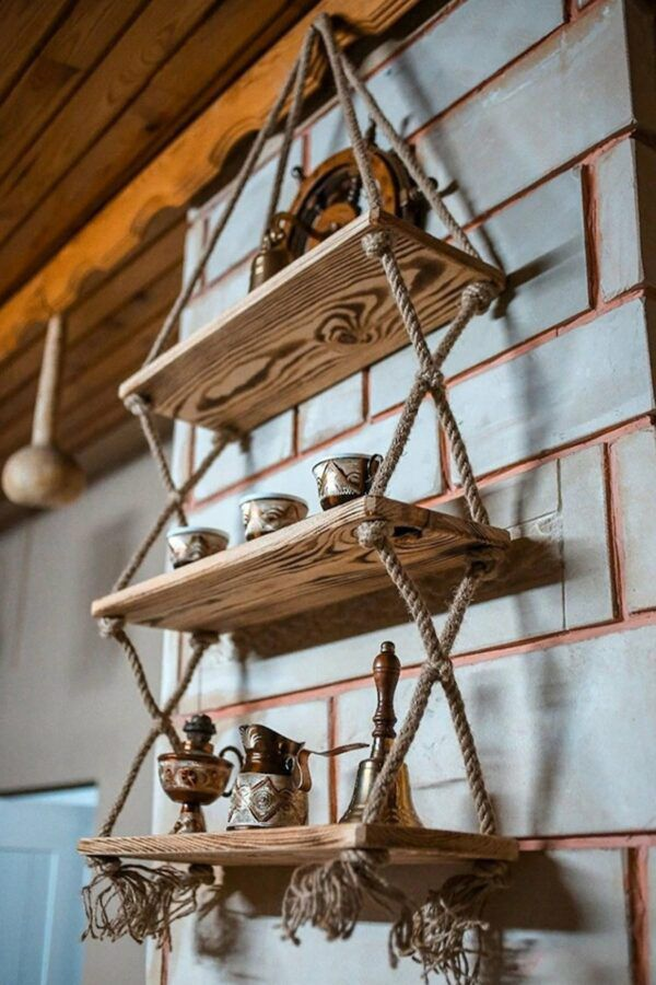 Small hanging rope bookcase