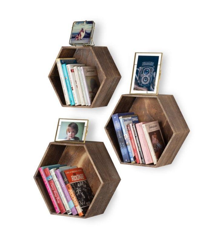 Set of three hexagonal wooden shelves