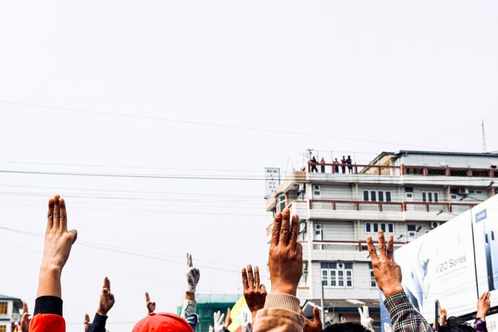 Appearance of the three-finger salute from The Hunger Games series in a protest in Myanmar