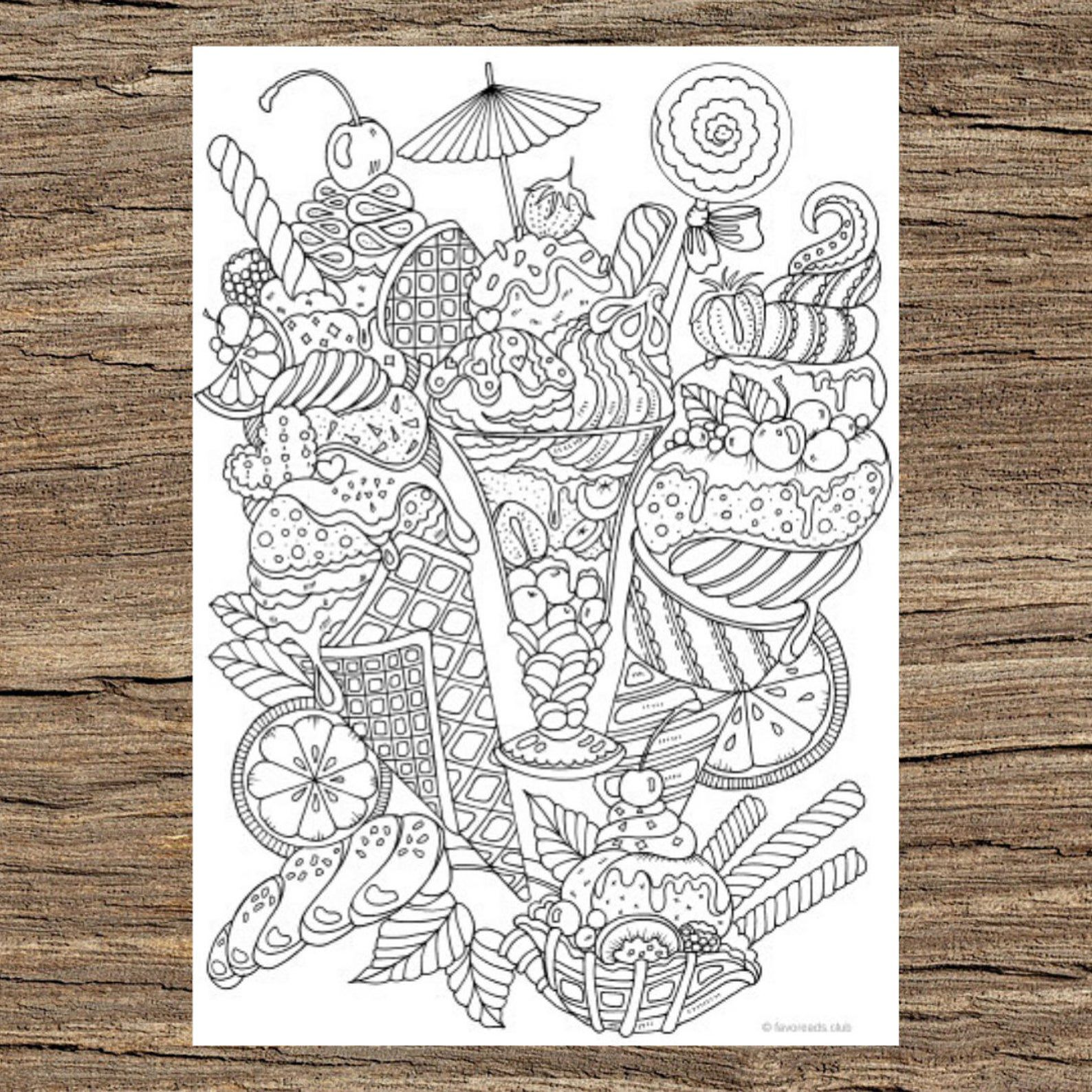 Ice cream sundae coloring book design