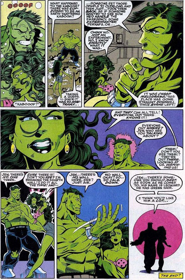 She-Hulk and Hulk have a conversation about breaking the fourth wall in Incredible Hulk #412. | https://www.cbr.com/she-hulk-fourth-wall-breaking/2/