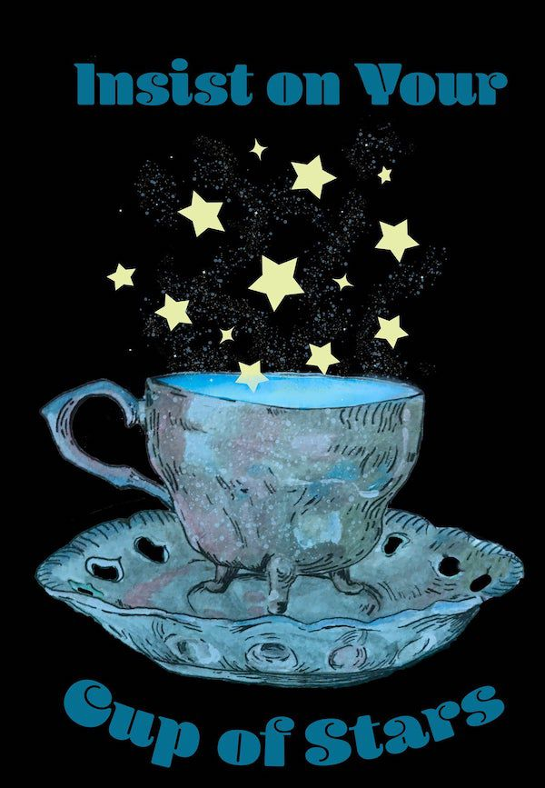 on a black background sits a teacup that almost looks alive. stars are floating out of it.