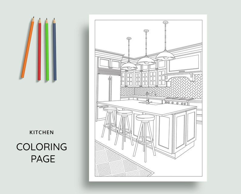 coloring book design of a kitchen