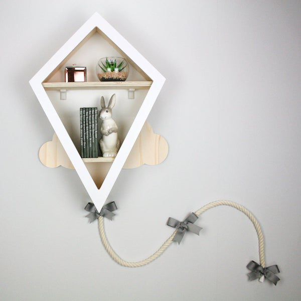 image of kite-shaped nursery bookshelf