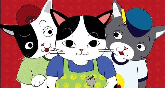 cross section from cover of No Kimchi for Me! by Aram Kima showing three illustrated cats