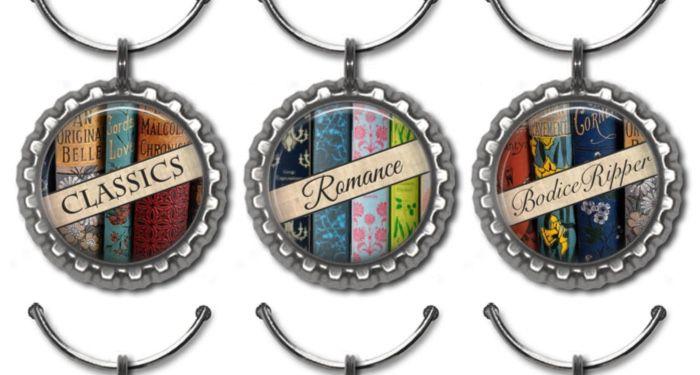 three book genre wine charms
