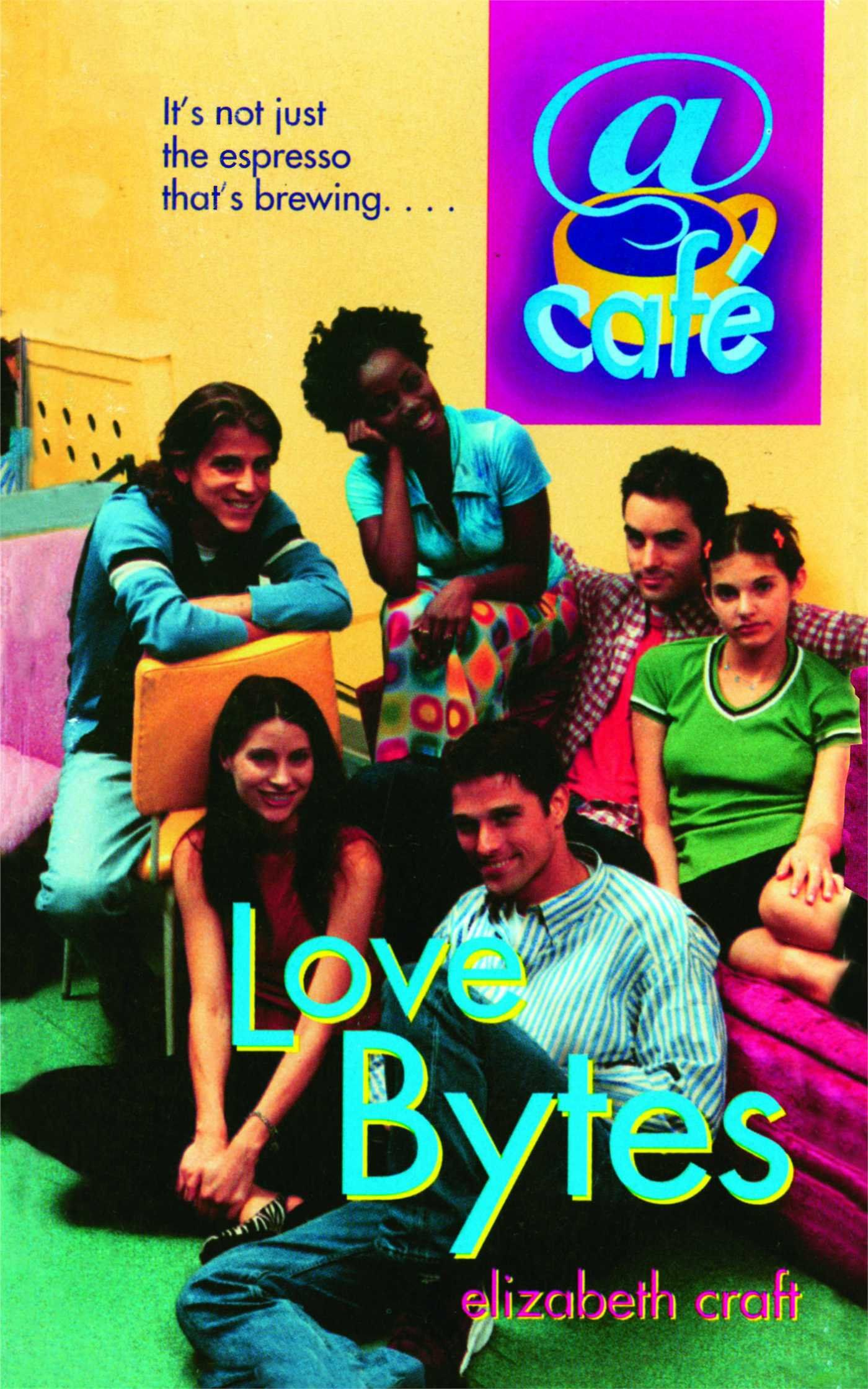 Image of the book cover for LOVE BYTES, featuring a group of teens sitting in a cafe