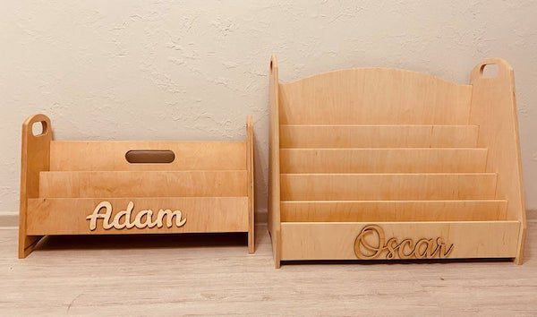 image of wooden montessori bookshelf with names