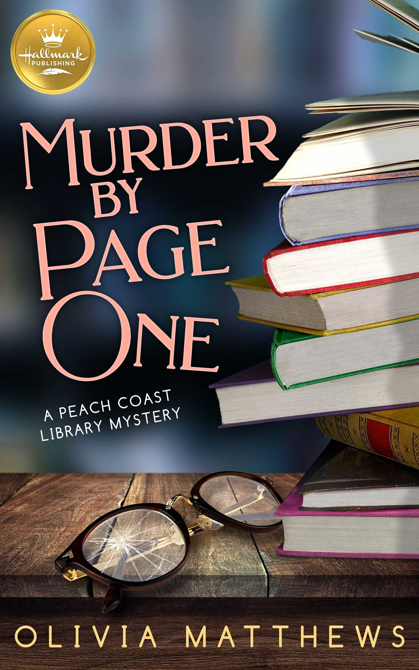 Cover Murder by Page One Shows an awkwardly tall stack of books and a pair of glasses with shattered  lenseson a desk