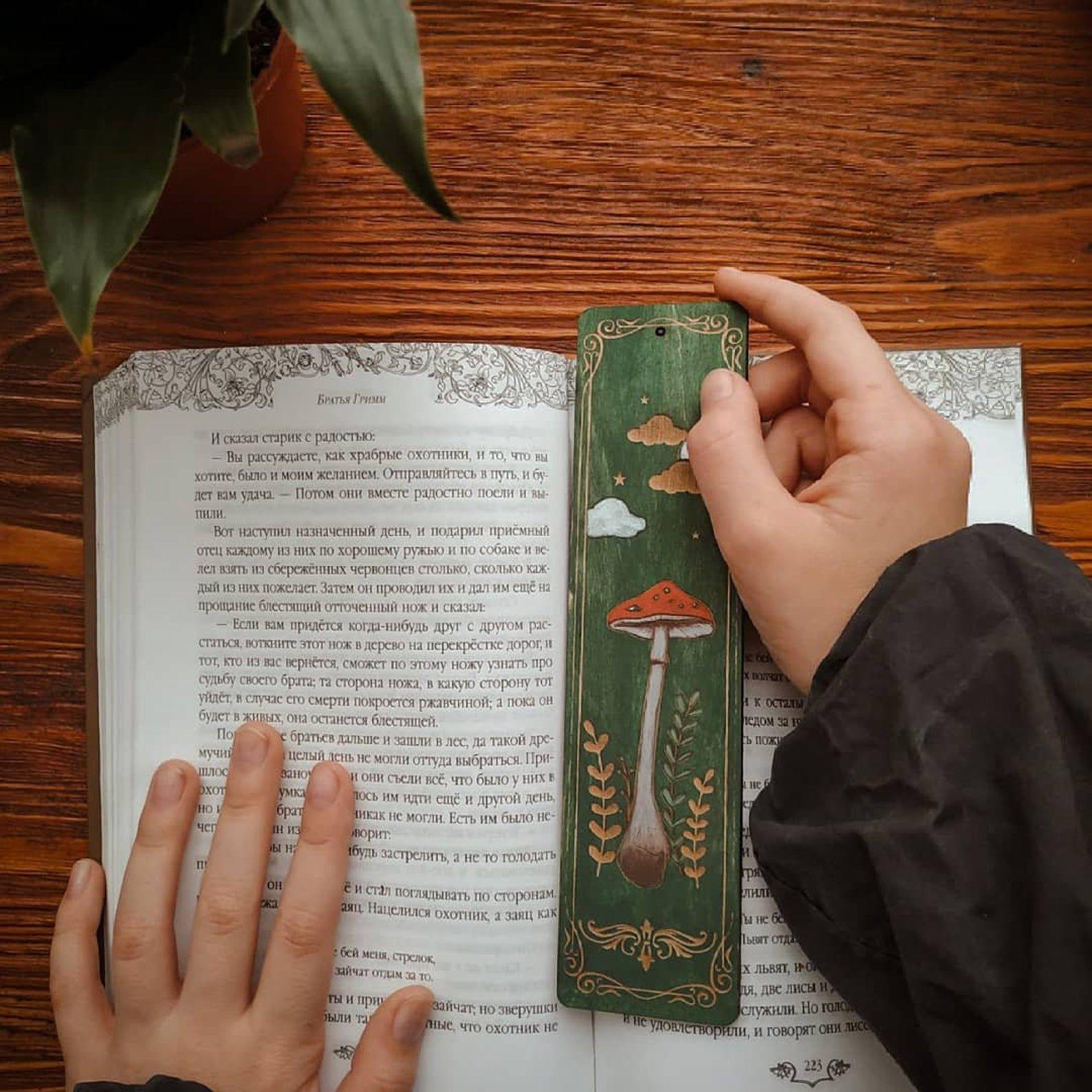 Image of green mushroom wooden bookmark