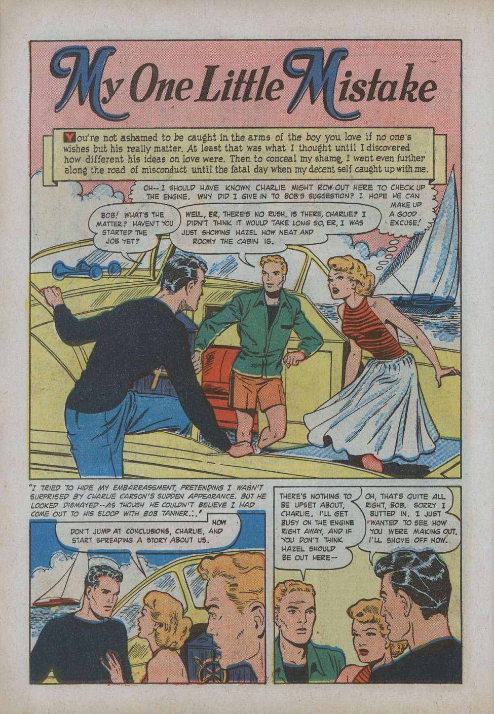 """Page scan from Teen-Age Romances of story titled """"My One Little Mistake."""""""