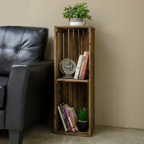 Narrow wooden bookcase with two shelves