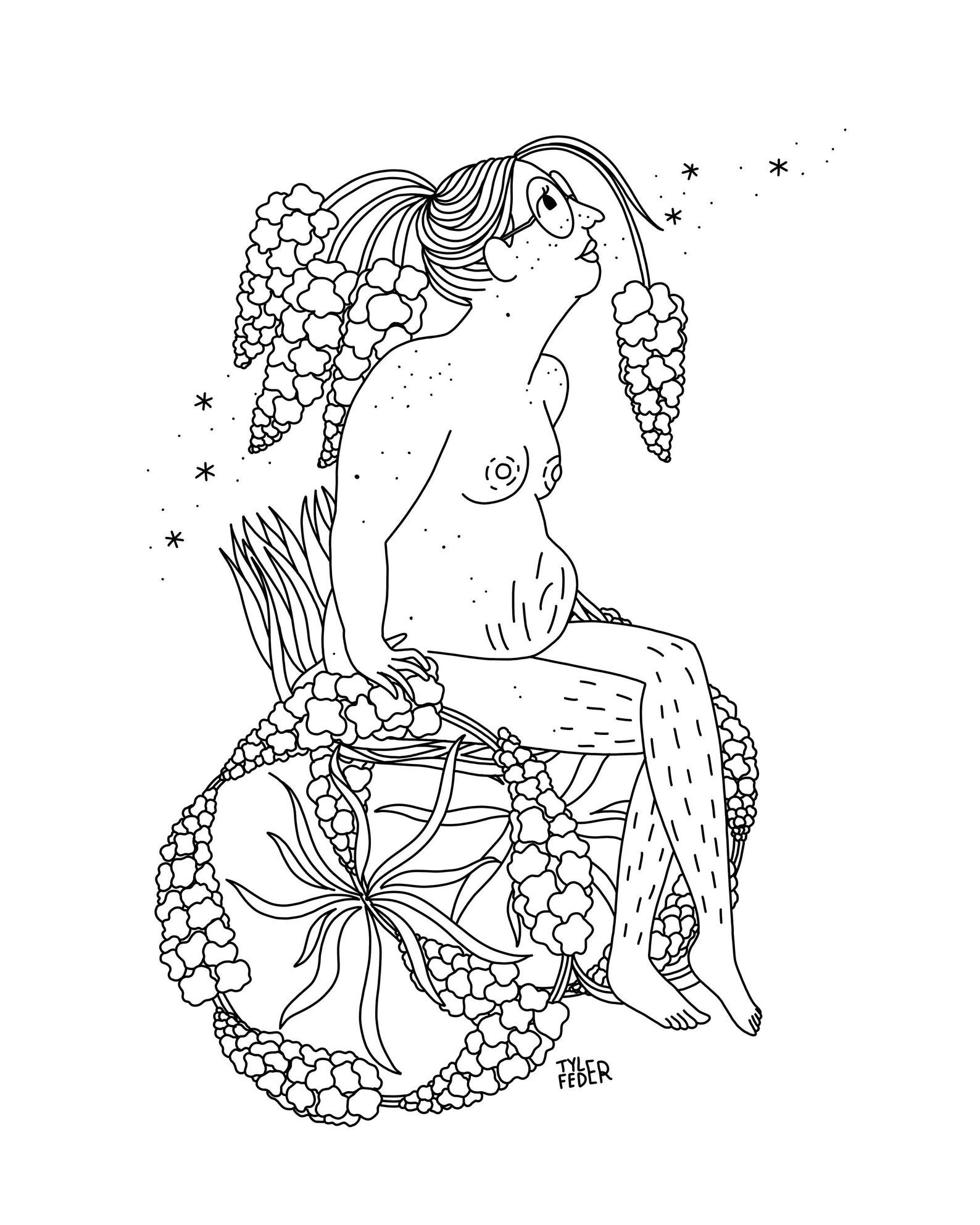 Floral coloring book design of a person in a wheelchair