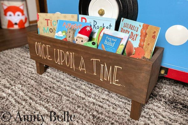 """image of a wooden bookshelf with """"Once Upon a Time"""""""