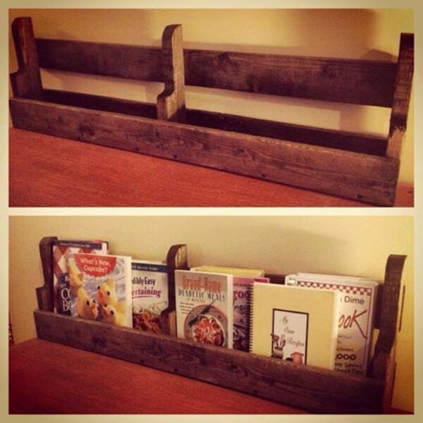 Small hanging bookcase made from a wooden pallet