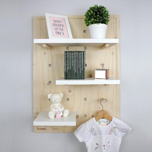 image of pegboard nursery bookshelf