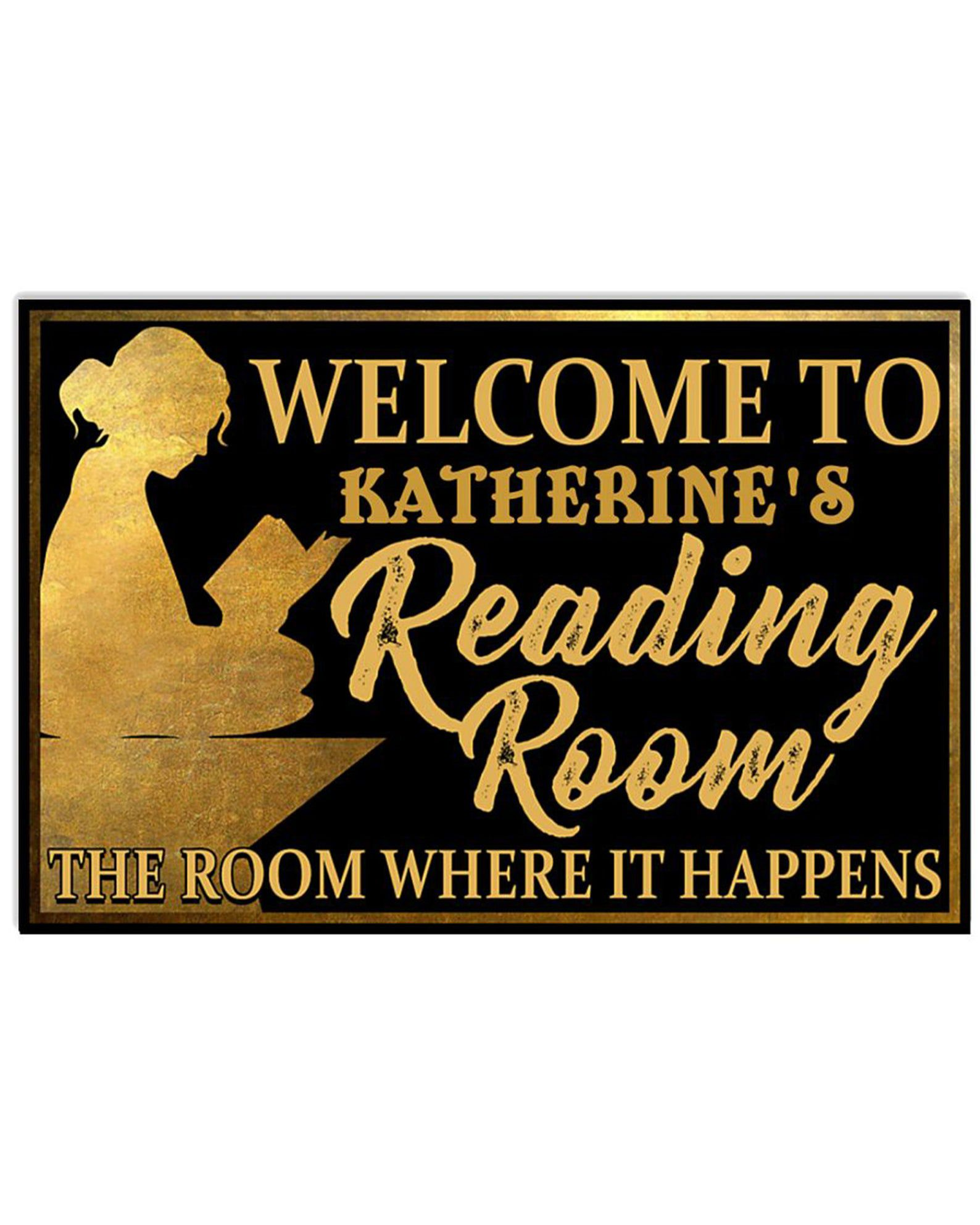 """Image of a black doormat with a golden, Hamilton-inspired design. It can be customized but reads """"Welcome to Katherine's Reading Room. The room where it happens."""""""