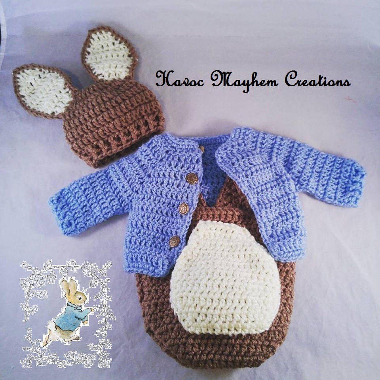 Crocheted Peter Rabbit costume.