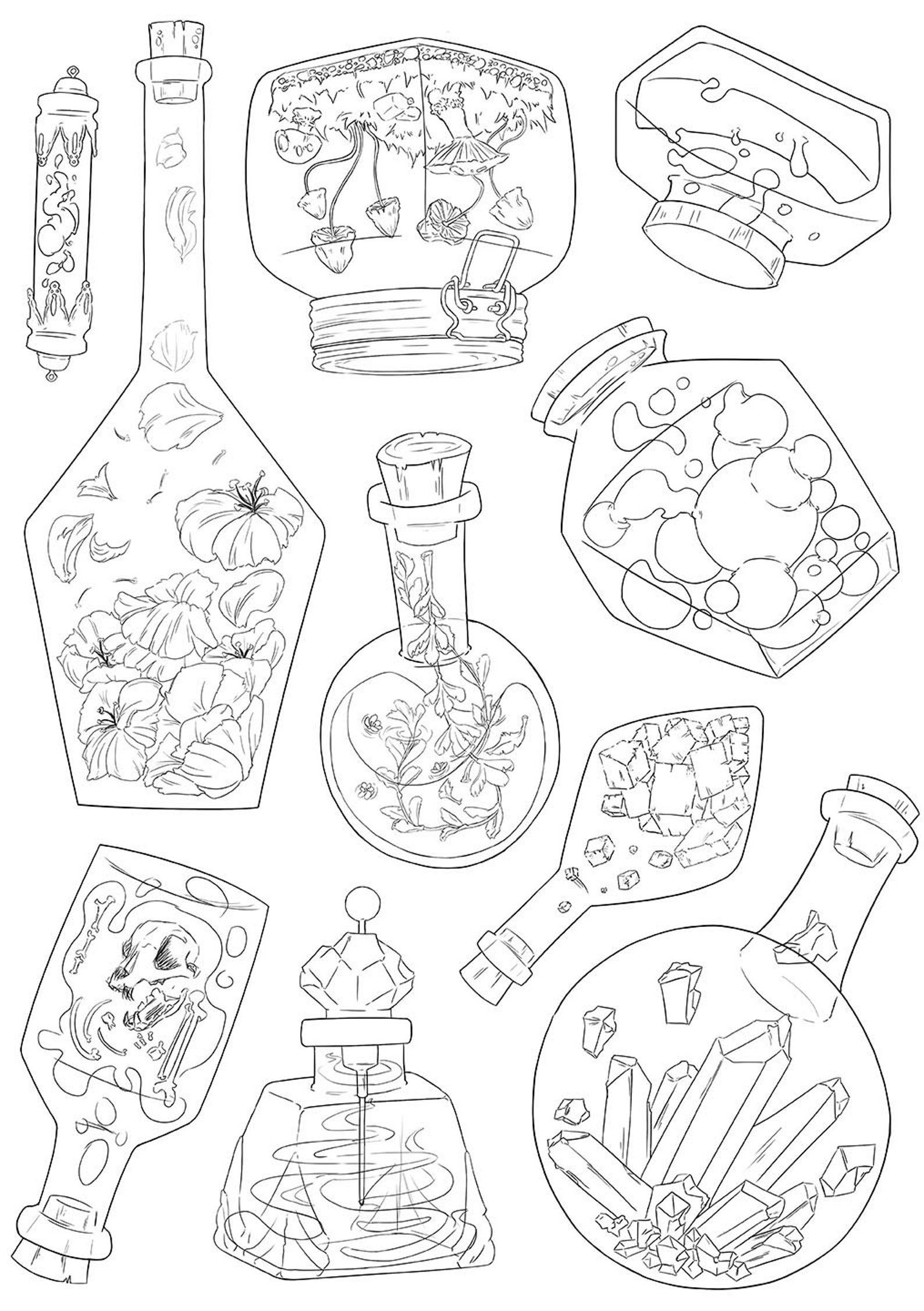 coloring book design of potions