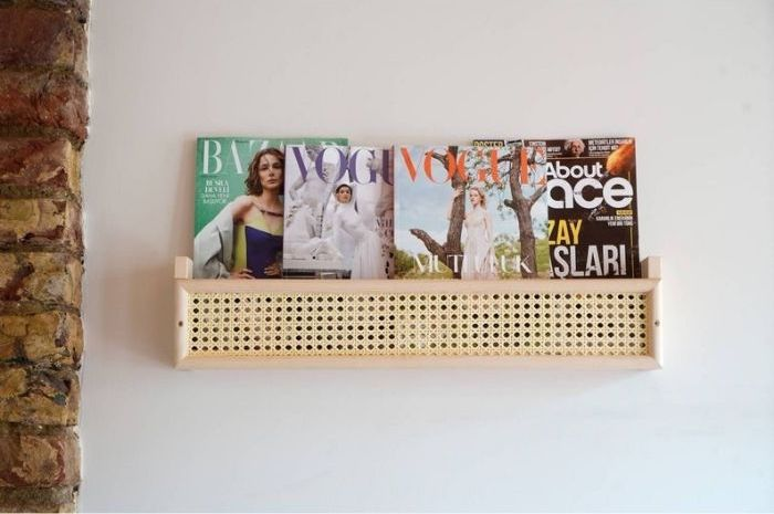 Wooden book rack with rattan front panel