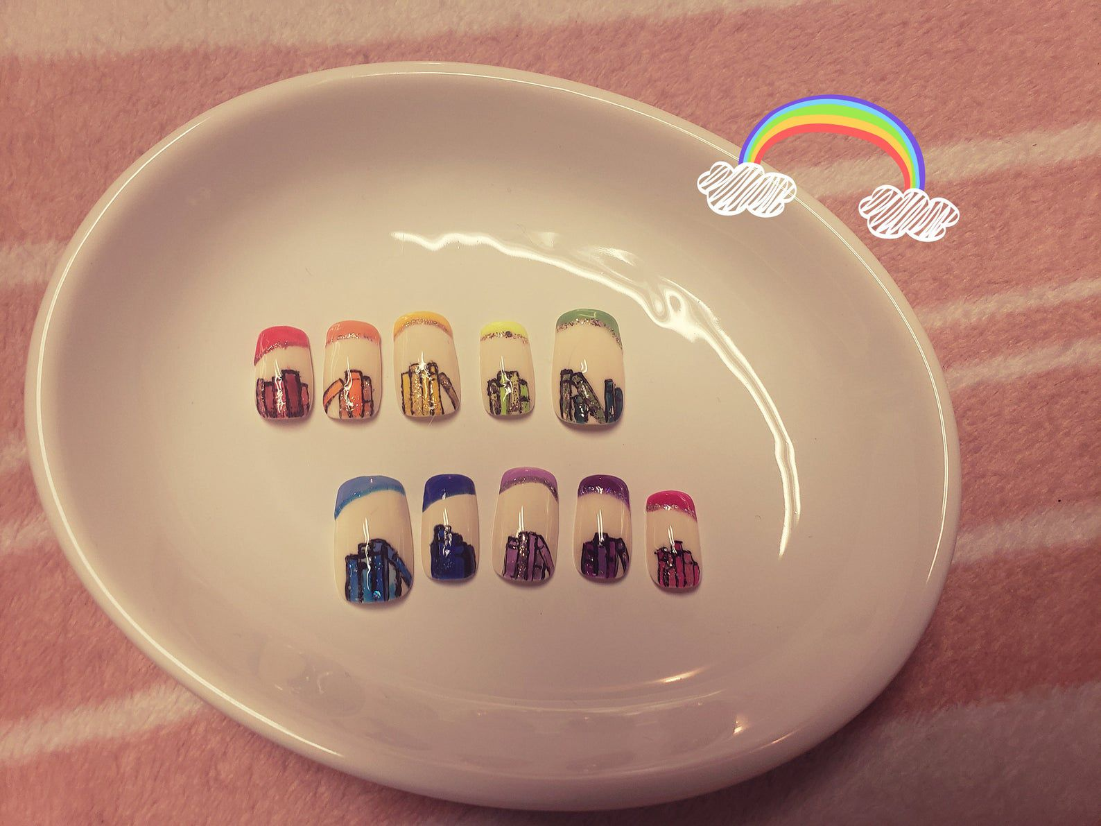 Image of rainbow book nails.