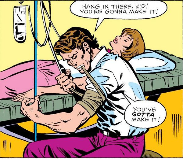 Bruce Banner saves Jennifer Walters' life with a blood transfusion in The Savage She-Hulk #1. | https://www.weirdsciencedccomics.com/2018/09/retro-review-savage-she-hulk-1-1980-she.html