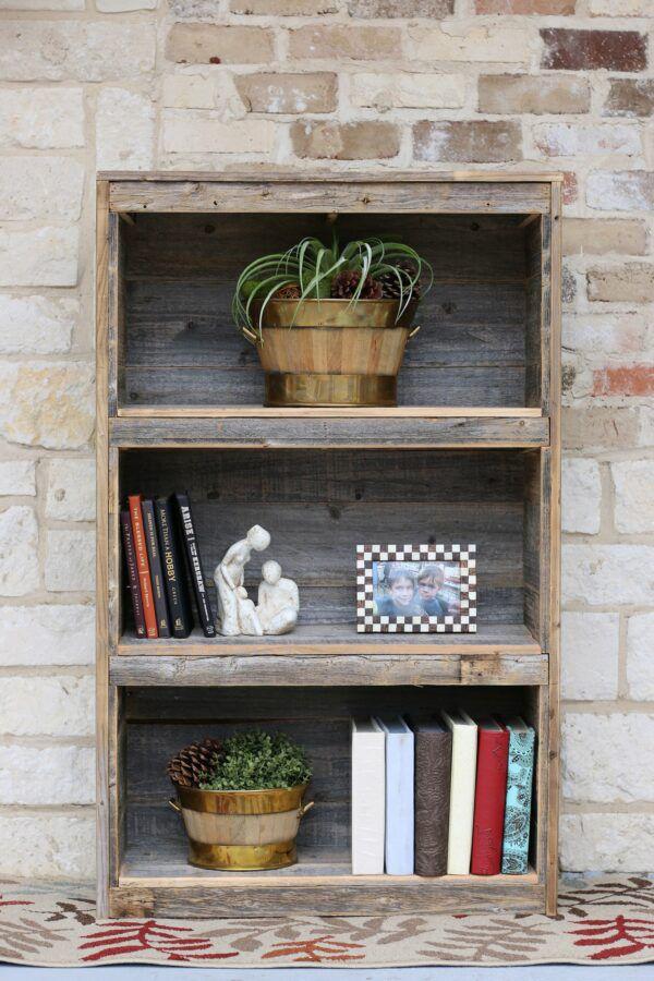 Short three tier wooden bookshelf