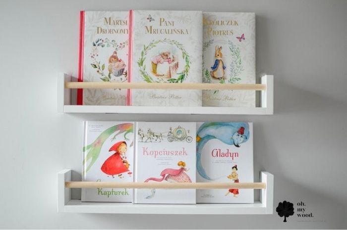 Simple wooden book rack with single front rod