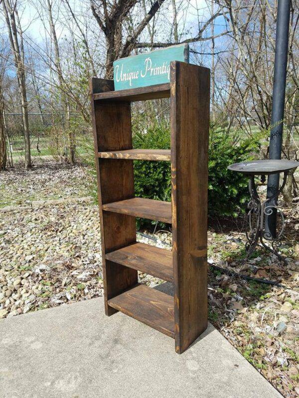 Tall dark wood bookcase