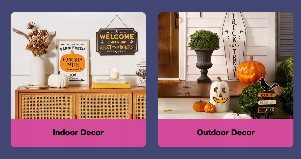 Image of advertisement for indoor and outdoor halloween decorations at Target.
