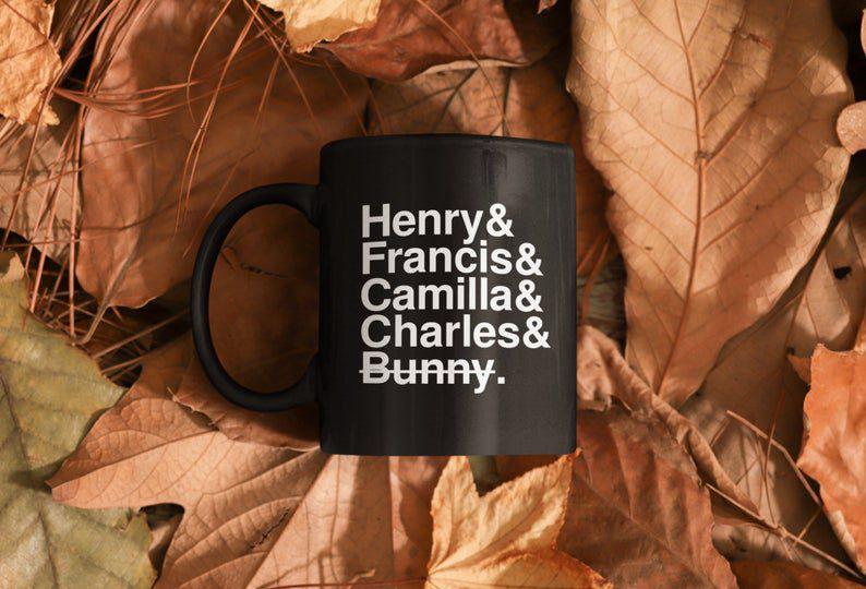 Image of The Secret History mug with character names.