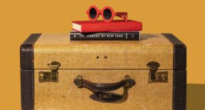 a brown and mustard suitcase with a stack of books and bright red plastic sunglasses on top