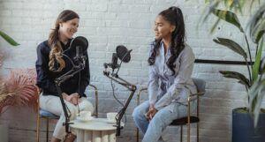 two women recording audio